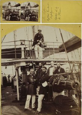 Military Ship with Officers Nassau Bahamas Mancell Gunboat Zephyr Captain le Coq & Dr Puison